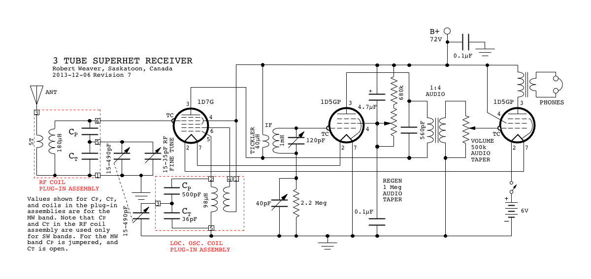 three tube superheterodyne receiver part 1