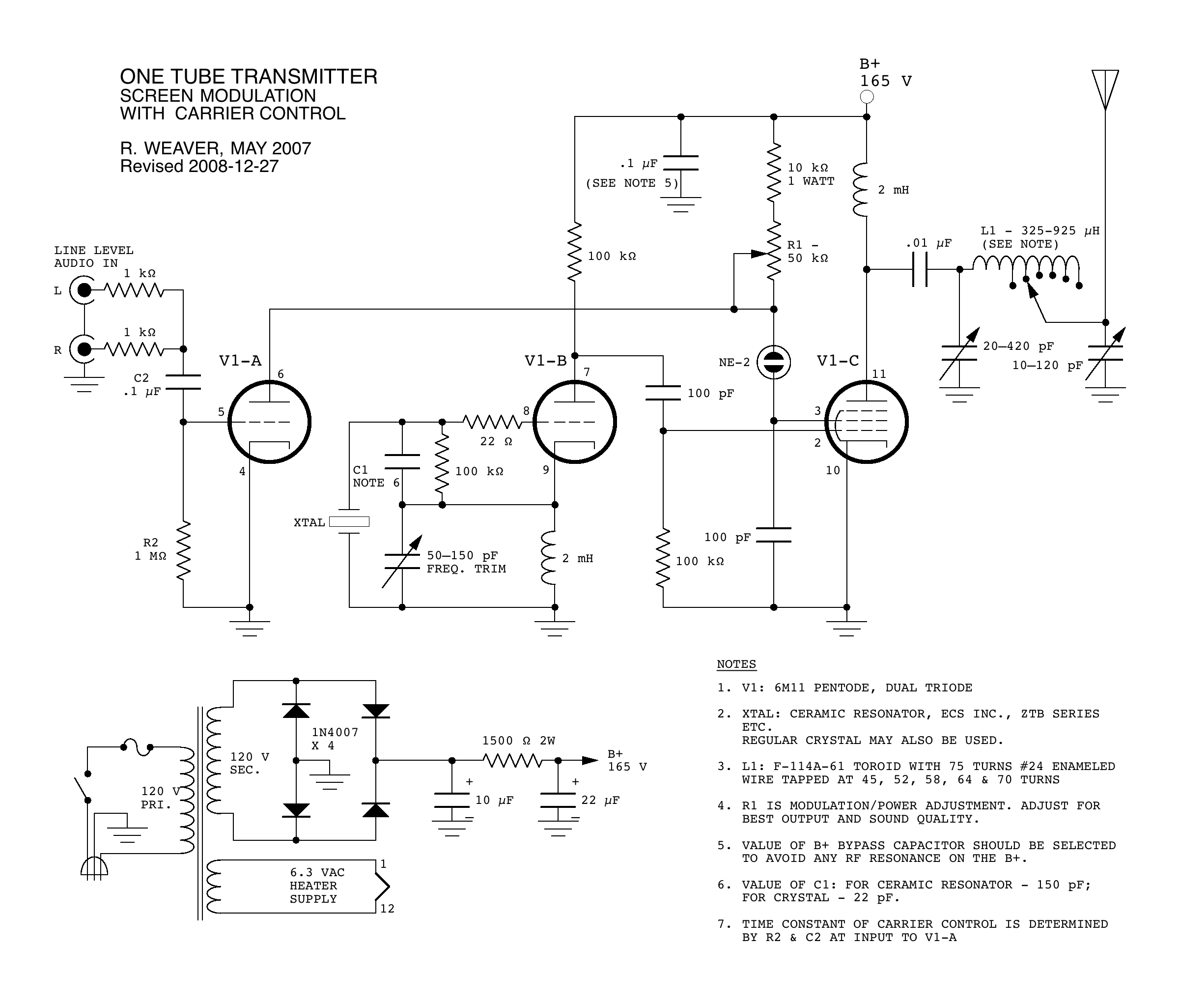 1 Tube Am Broadcast Transmitter Radio Receiver Circuit Design Electronic Project Schematic How It Works