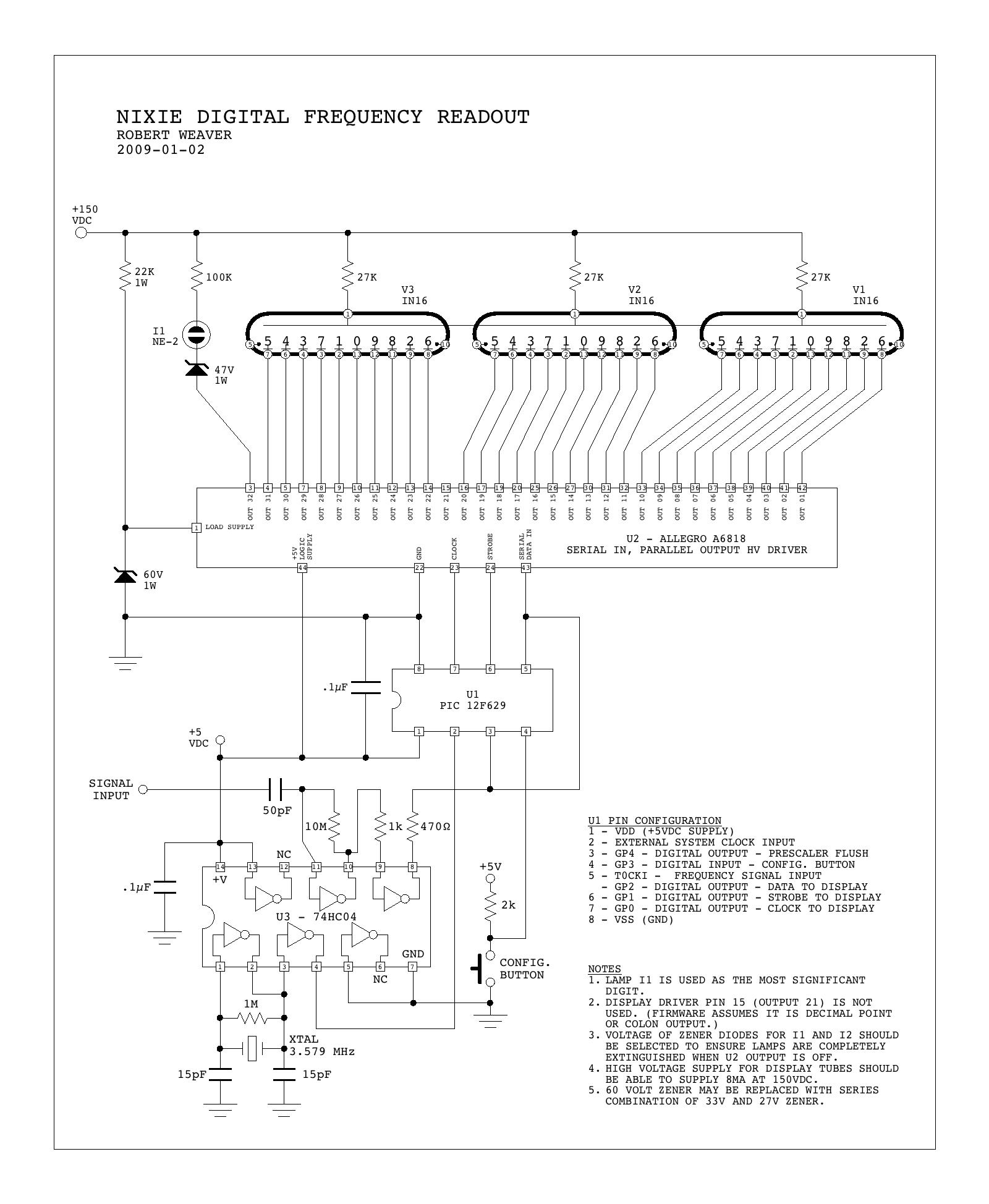 A Simple Nixie Display Driver Clock Circuit Diagrams To